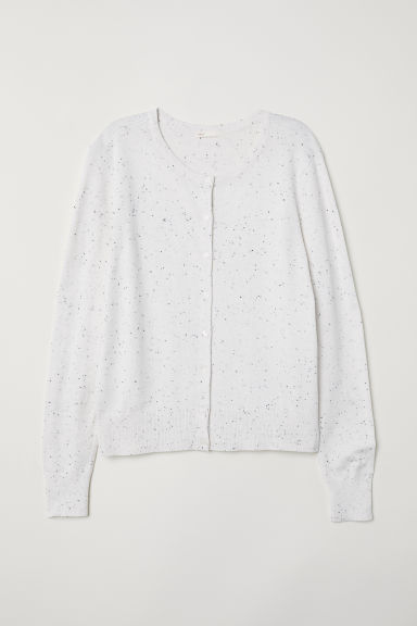 Fine-knit cardigan - Natural white/Nepped -  | H&M