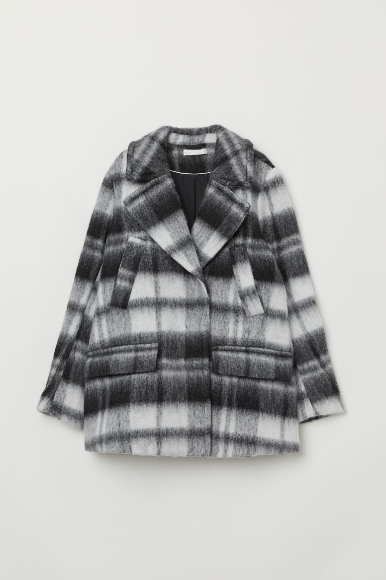 Double-breasted Jacket - Black/white plaid - Ladies | H&M US