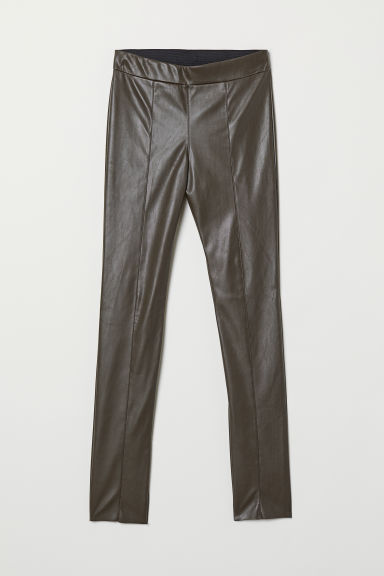Imitation leather leggings - Dark mole - Ladies | H&M