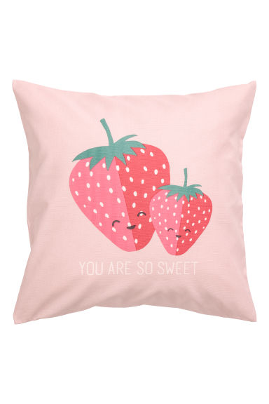 Cushion cover with a motif - Pink/Strawberries -  | H&M CN