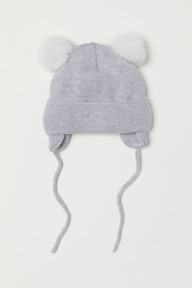 Fleece-lined hat - Light grey marl - Kids | H&M