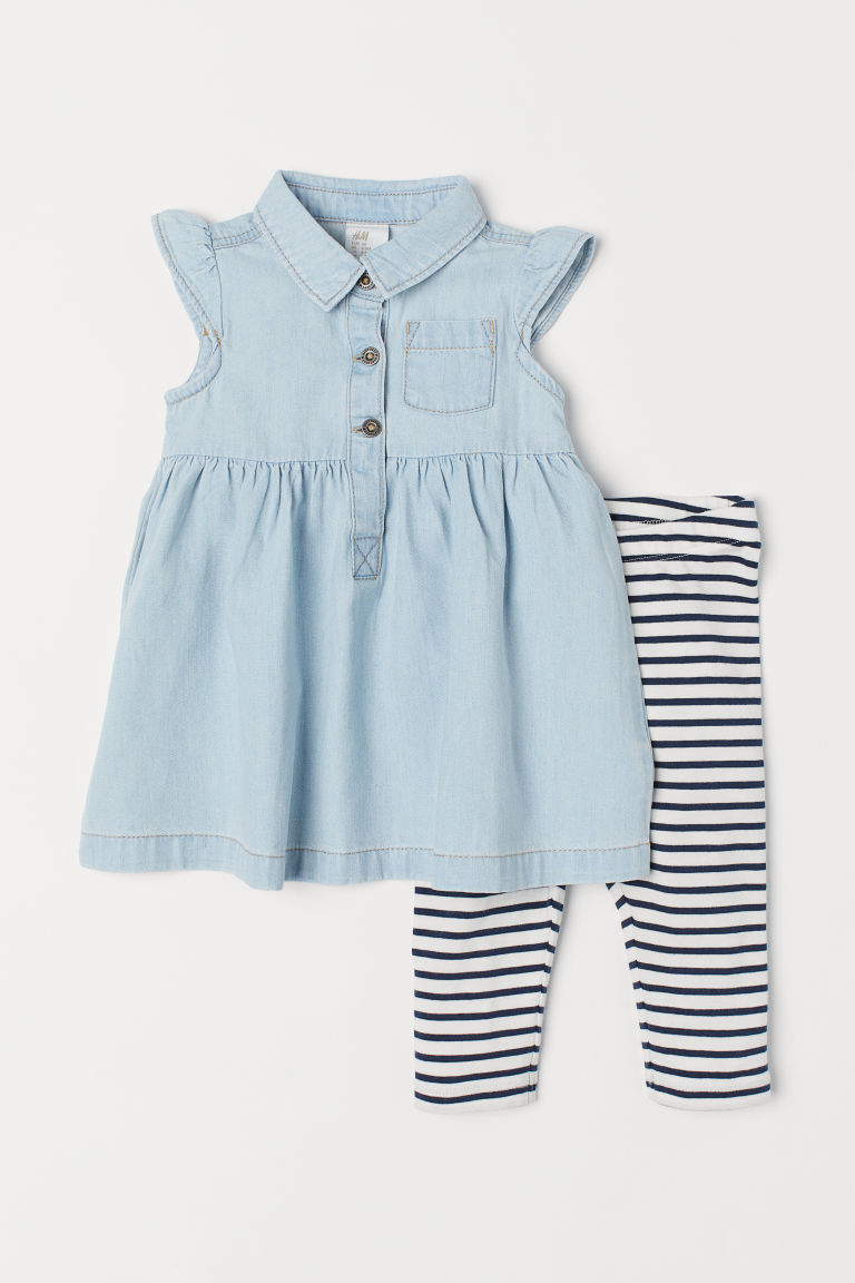 Denim dress and leggings - Light blue - Kids | H&M CN