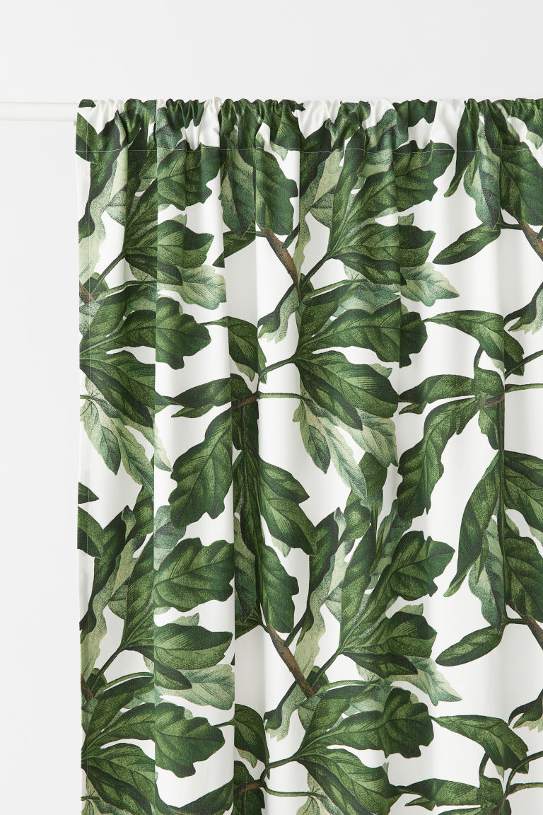 2-pack patterned curtains - Natural white/Fig leaf - Home All | H&M CN
