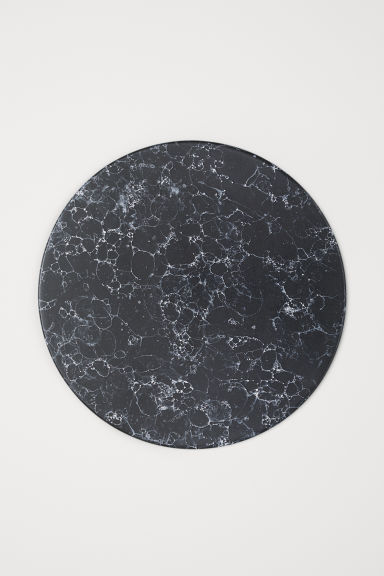 Round stoneware chopping board - Black/Marbled - Home All | H&M CN