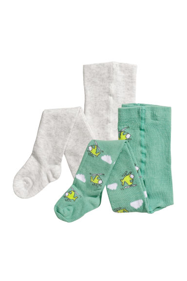2-pack tights - Green/Helicopters - Kids | H&M