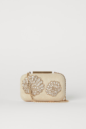 Clutch com bordado de contasModel