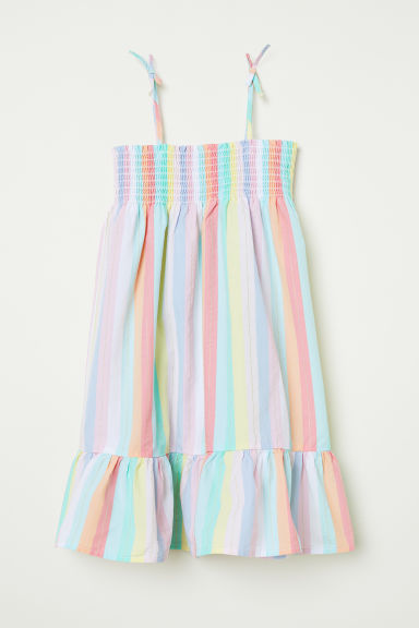 Cotton dress with smocking - Light green/Striped -  | H&M