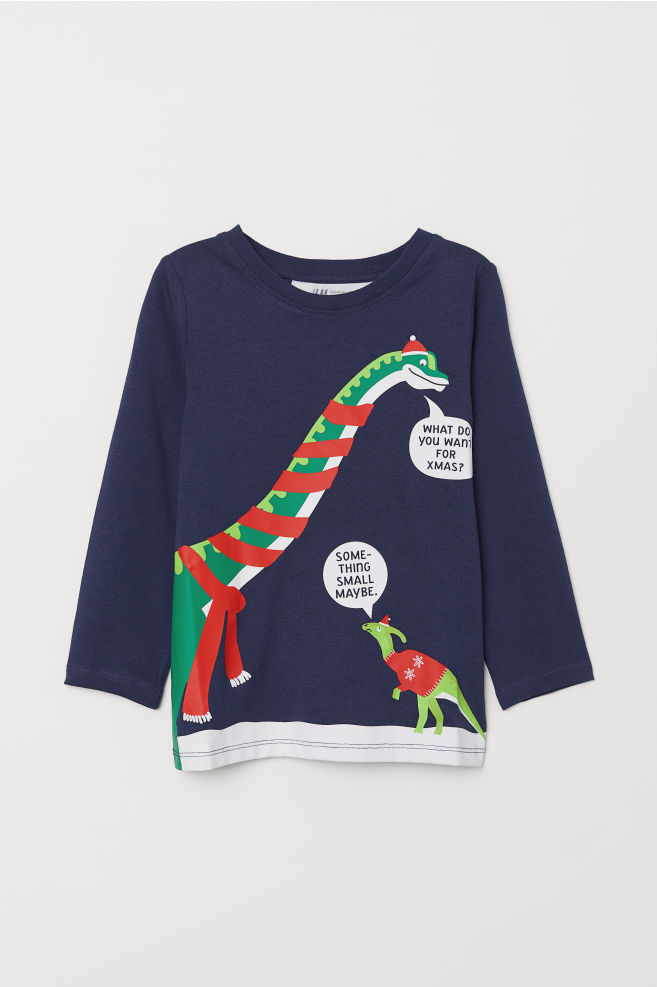 f2f6cbd43fbfe T-shirt imprimé - Bleu foncé/dinosaure - ENFANT | H&M ...