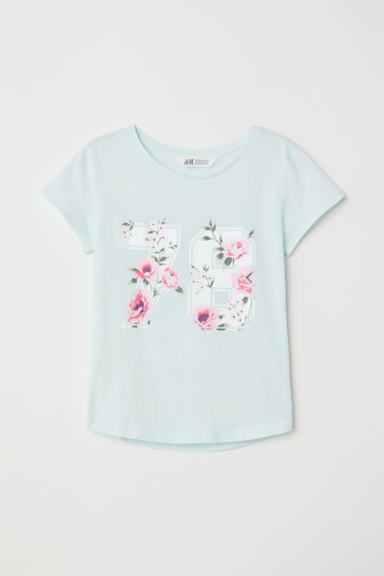 Printed jersey top - Mint green/78 - Kids | H&M
