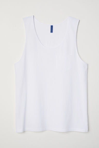 Vest top with a chest pocket - White - Men | H&M