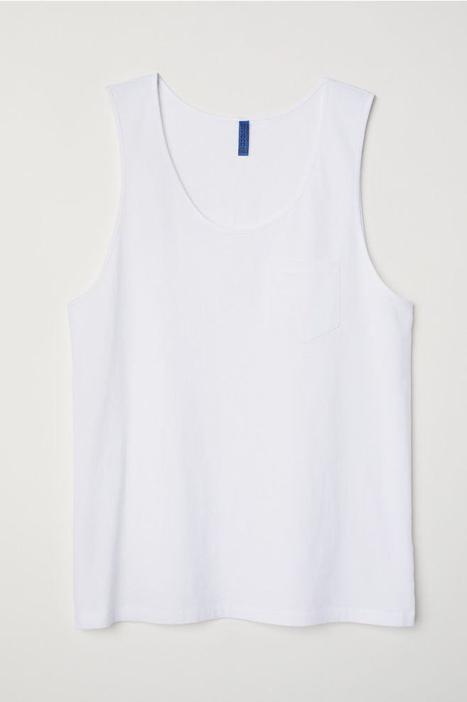 092f6c1a2ff063 Tank Top with Chest Pocket - White - Men