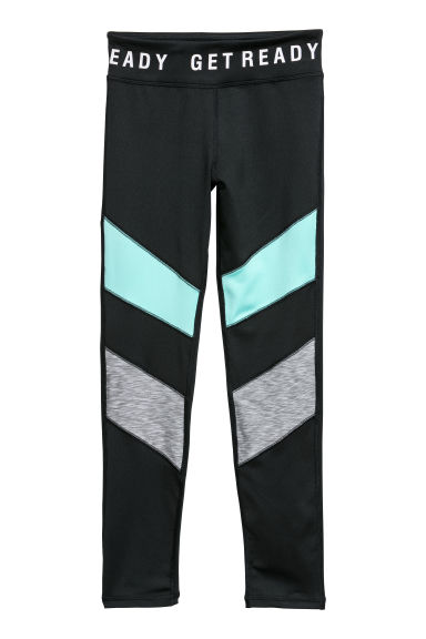 Sports tights - Black/Turquoise -  | H&M CN