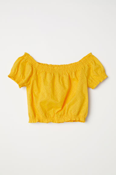 Short off-the-shoulder blouse - Yellow -  | H&M