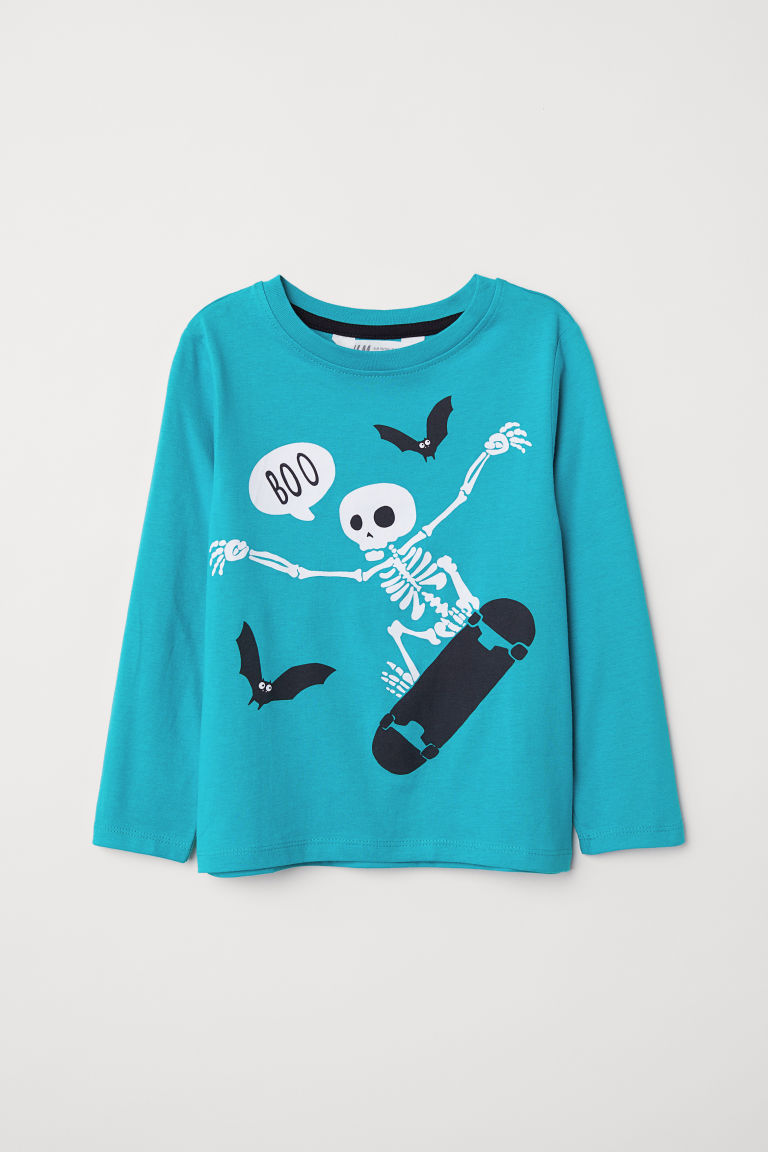 Printed top - Turquoise/Skeleton -  | H&M CN