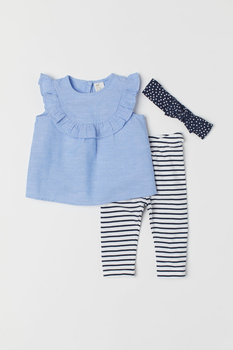 3-piece set - Light blue/Chambray - Kids | H&M