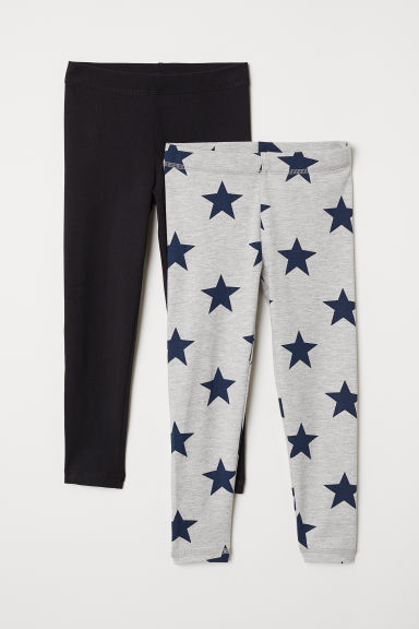 2-pack leggings - Light grey marl/Stars - Kids | H&M CN