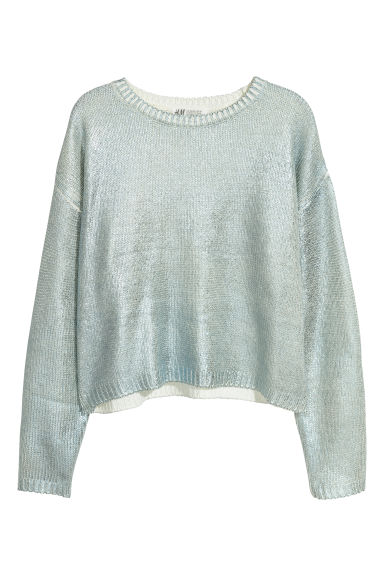 Shimmering metallic jumper - Light blue/Metallic - Kids | H&M CN