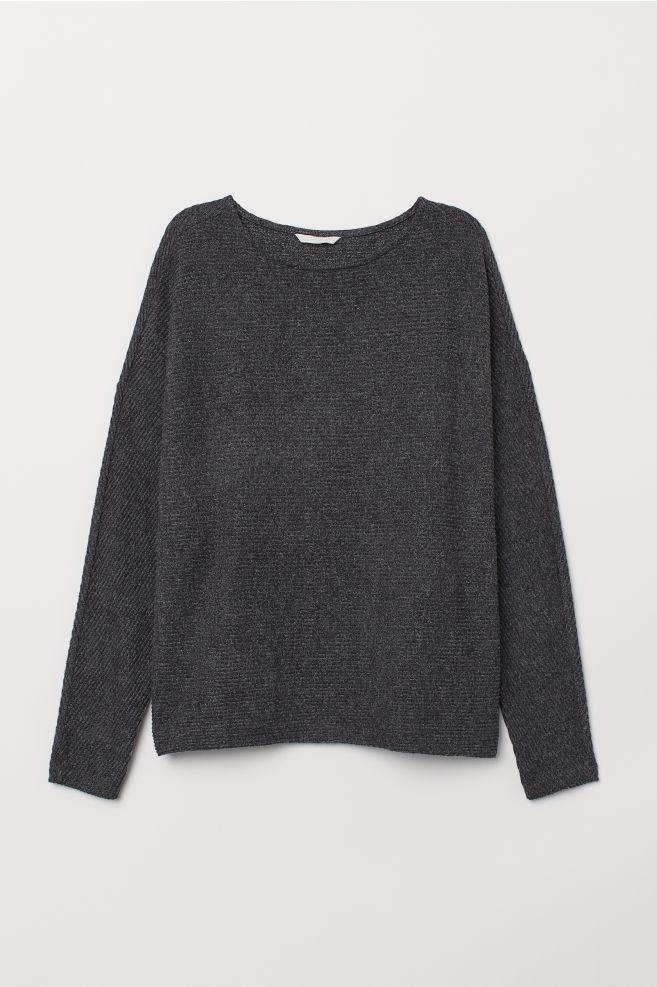 c25d81e29fc Топ с рукавами «летучая мышь» - Темно-серый меланж - Женщины