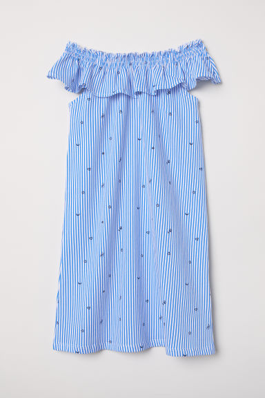 Dress with a flounce - White/Blue striped -  | H&M CN