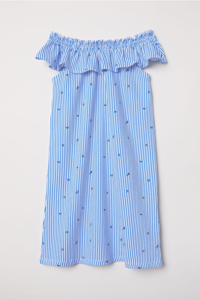 30dbd0da11 Fodros ruha - Fehér/kék csíkos - GYEREK   H&M ...