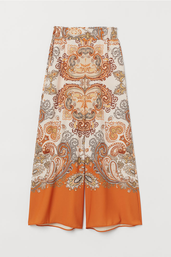 42a8b32ebc ... Wide-leg Pants - Orange/paisley-patterned - Ladies | H&M ...