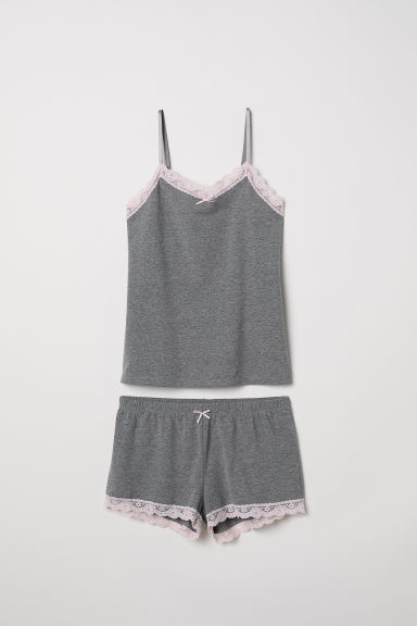 Pyjama strappy top and shorts - Grey marl - Ladies | H&M