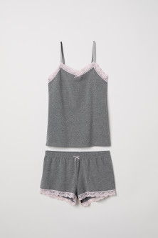 Pyjama strappy top and shortsModal