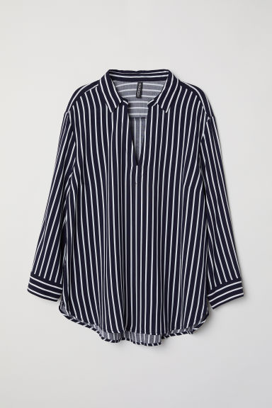V-neck blouse - Dark blue/White striped -  | H&M CN