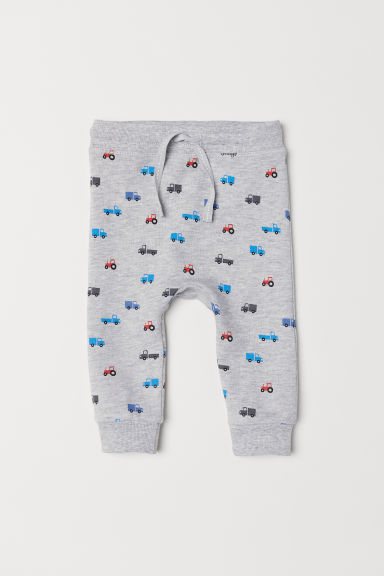 Cotton joggers - Light grey marl/Vehicles - Kids | H&M