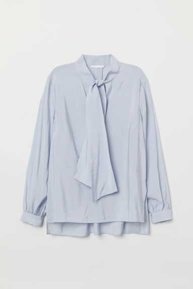 Tie-front blouse - Light blue - Ladies | H&M GB