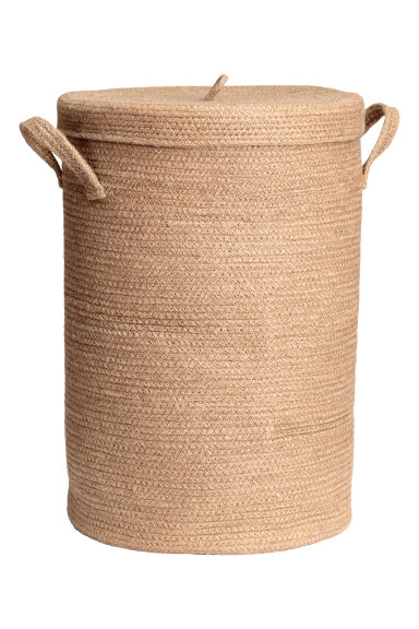 Jute laundry basket with lid - Natural - Home All | H&M CN