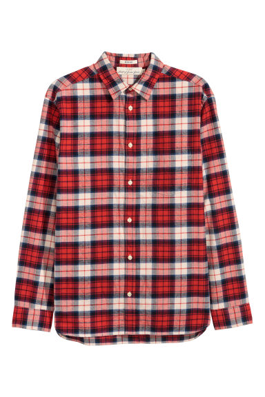 Flannel shirt Regular fit - Red/Checked - Men | H&M CN