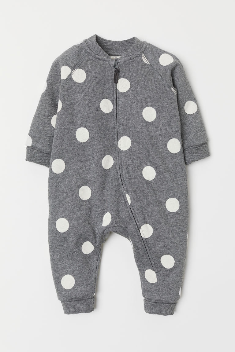 Sweatshirt all-in-one suit - Grey/Spotted -  | H&M