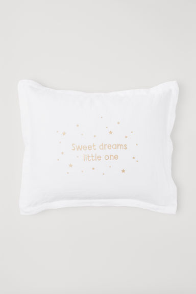 Washed linen pillowcase - White - Home All | H&M CN