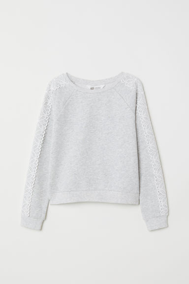 Sweatshirt with lace - Light grey marl - Kids | H&M CN