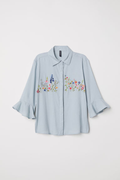Blouse with embroidery - Dusky green - Ladies | H&M CN