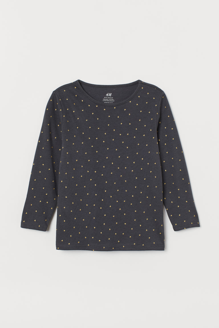 Long-sleeved cotton top - Dark grey/Hearts - Kids | H&M CN