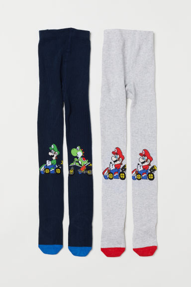 2-pack tights - Light grey marl/Super Mario - Kids | H&M