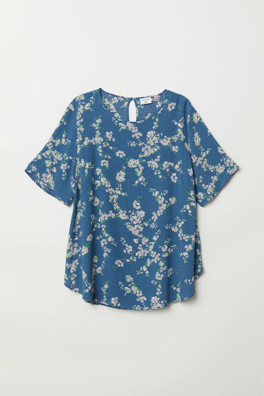 H&M+ Patterned top - Blue/Floral - Ladies | H&M CN