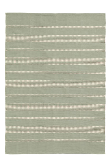 Textured striped cotton rug - Dusky green/Natural white - Home All | H&M IE