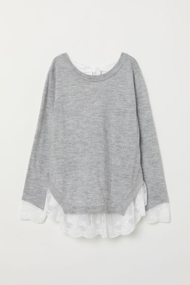 Jumper with lace trims - Light grey marl - Ladies | H&M