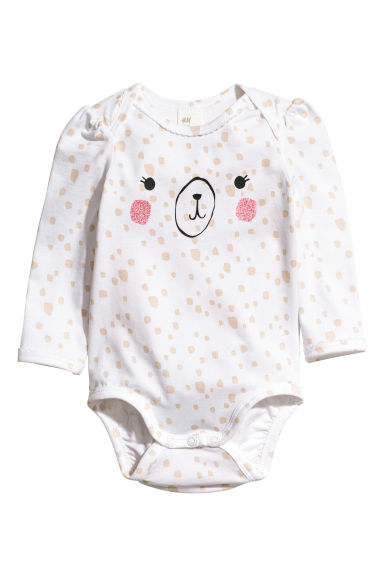 Cotton bodysuit - White/Patterned -  | H&M