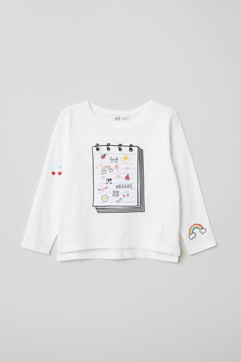 Appliquéd top - White/Notebook - Kids | H&M