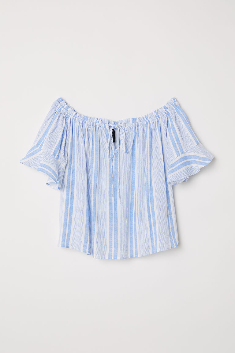 Off-the-shoulder blouse - White/Light blue striped - Ladies | H&M