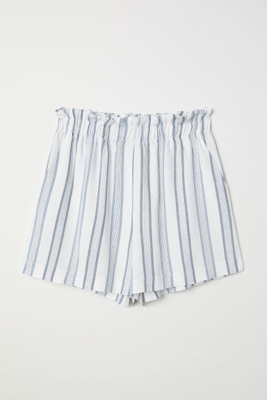 Wide shorts - White/Blue striped - Ladies | H&M