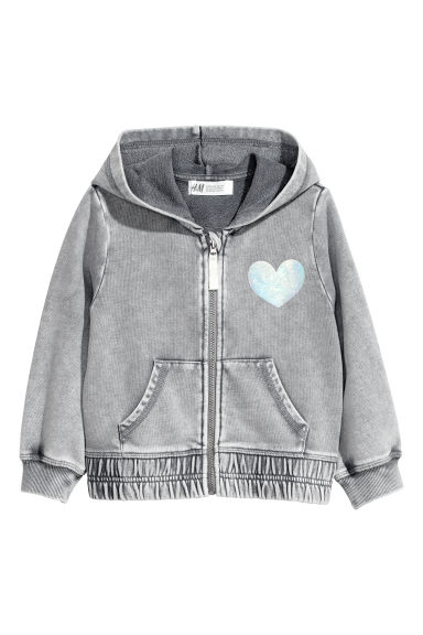 Printed hooded jacket - Grey -  | H&M CN
