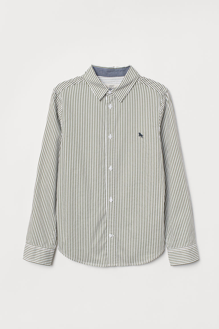 Cotton shirt - White/Green striped - Kids | H&M