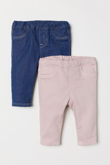 2-pack denim leggings - Denim blue/Powder pink - Kids | H&M CN