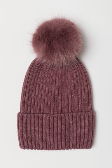 Ribbed hat - Dark pink -  | H&M