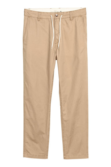 Drawstring cotton chinos - Dark beige - Men | H&M